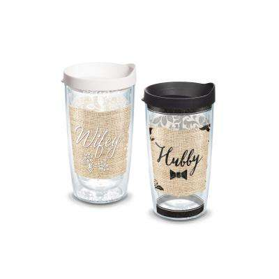 Wifey Hubby 16 oz. Double Walled Insulated Tumbler with Travel Lid (2-pack)