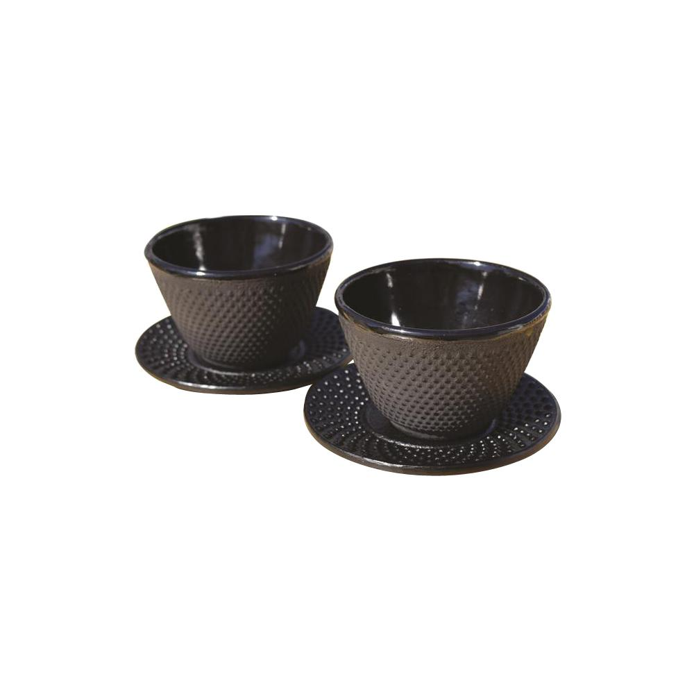Old Dutch 4 oz. Cast Iron Cups and Saucers in Matte Black...