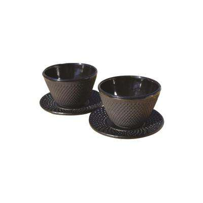4 oz. Cast Iron Cups and Saucers in Matte Black Set of 2