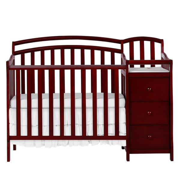 Casco in Cherry 4-in-1 Mini Crib and Changing Table