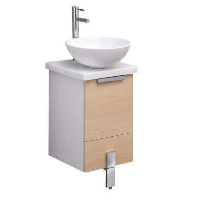 Adour 16 in. Bath Vanity in Light Walnut with Ceramic Vanity Top in White with White Vessel Basin Sink