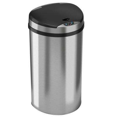 13 Gal. Stainless Steel Semi-Round Extra-Wide Lid Opening Motion Sensing Touchless Trash Can