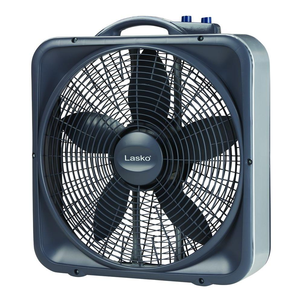lasko weather shield select 20 in 3 speed box fan with thermostat rh homedepot com Box Fan Air King Lakewood Box Fan