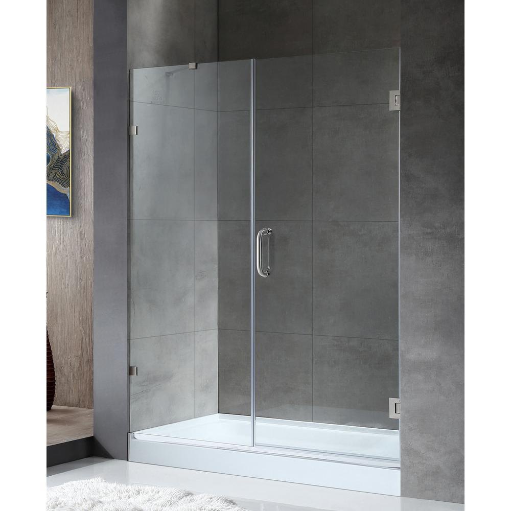 Consort Series 58.5 in. x 72 in. Frameless Pivot Shower Door in Brushed Nickel