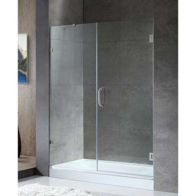 58.5 in. x 72 in. Frameless Hinged Alcove Shower Door in Brushed Nickel with Handle