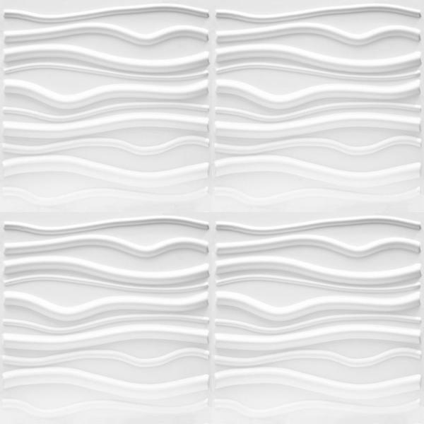 Luxorware 19 7 In X 1 In X 19 7 In White Pvc Fiber 3d Wall Panels 12 Pack Lw3d881 The Home Depot