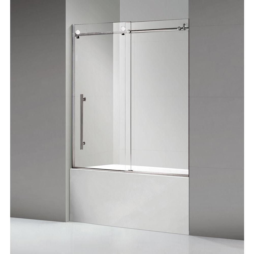60 in. x 60 in. Luxury Frameless Sliding Shower door in
