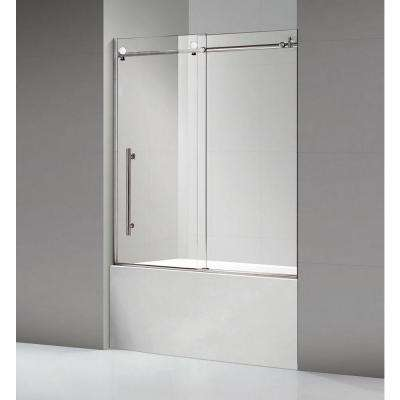 60 in. x 60 in. Luxury Frameless Sliding Shower door in Stainless Steel