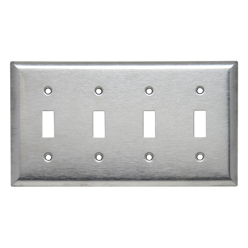 430 Series 4 Gang Toggle Wall Plate Stainless Steel Sl4 The Home