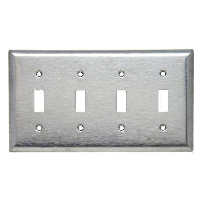 430 Series 4-Gang Toggle Wall Plate, Stainless Steel