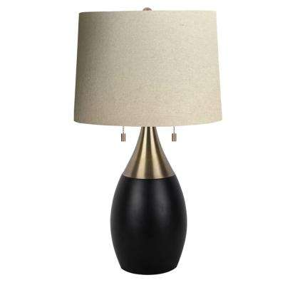 23.25 in. Antique Brass with Black Accent Table Lamp with Light Brown Linen Shade