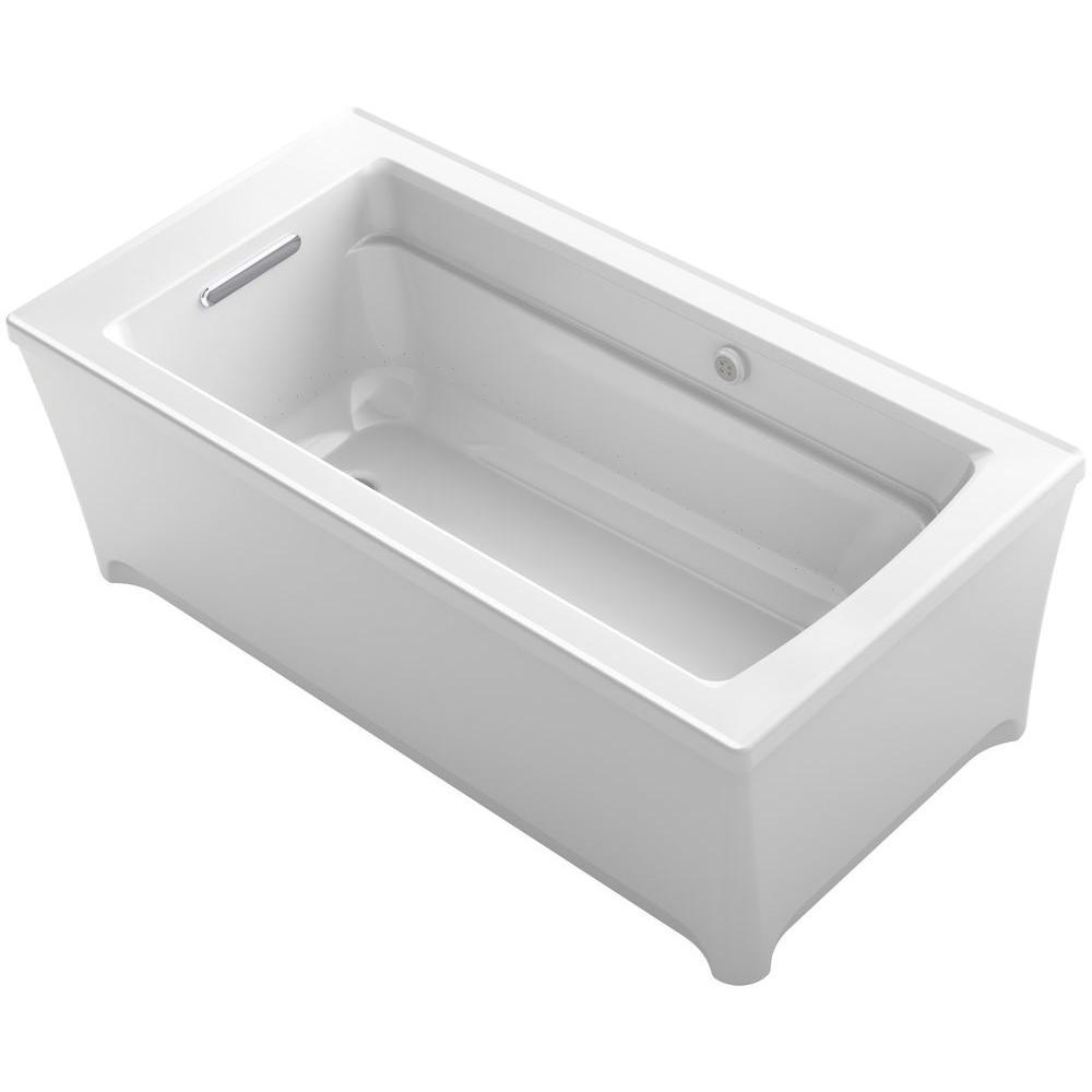 KOHLER Archer 5 ft. Freestanding Air Bath Tub in White-K-2593-G-0 ...
