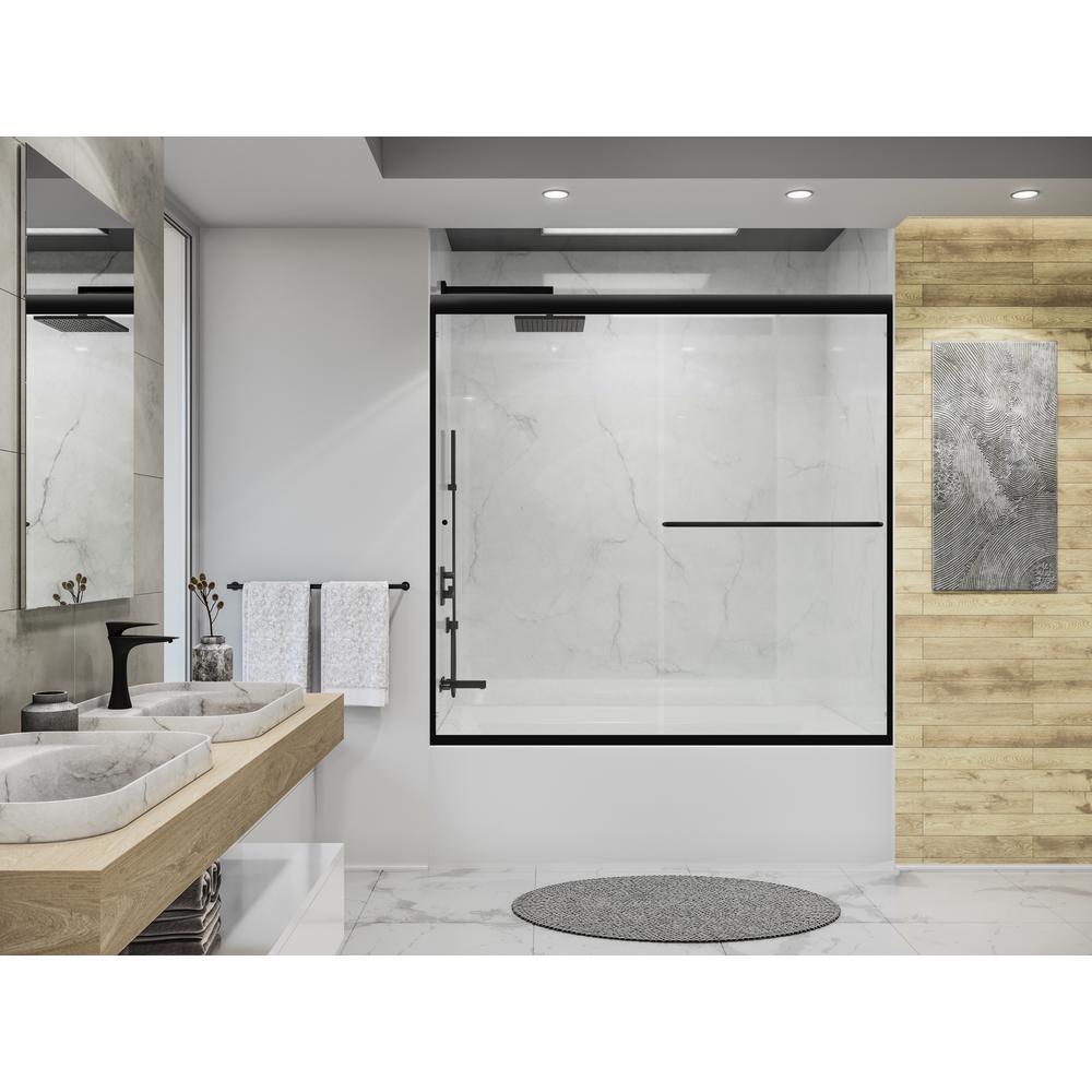 Distinctive 58 in. x 55.5 in. Frameless Sliding Bathtub Door in Matte Black
