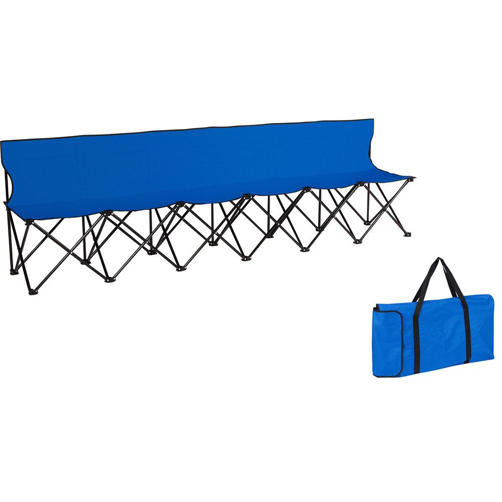 Portable Sports Bench With Back Sits 6 People Blue