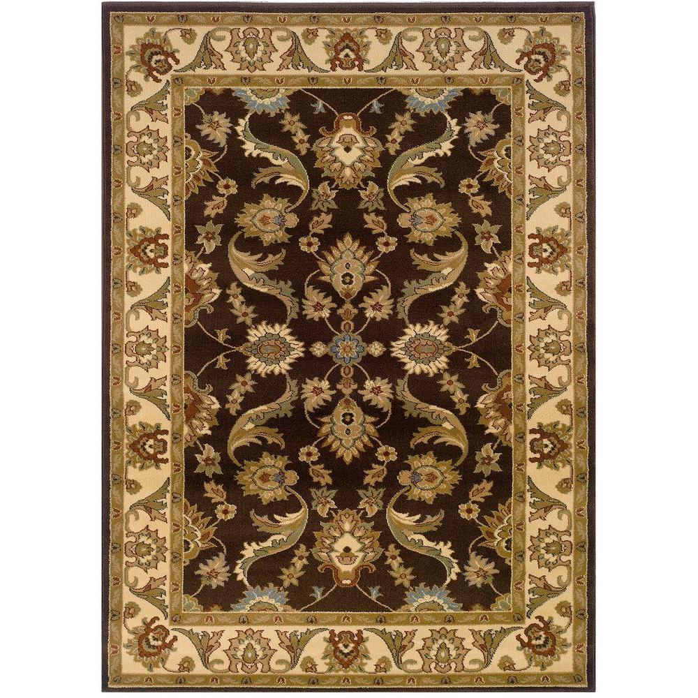 Adana Brown/Cream Rectangle 5 ft. 1 in. x 7 ft. 5 in. Plush Indoor Area Rug