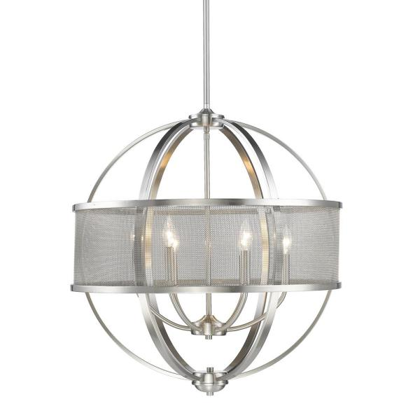 Golden Lighting Colson Pw 6 Light Pewter Chandelier 3167 6 Pw Pw The Home Depot