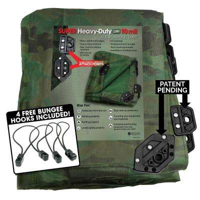 12 ft. x 20 ft. Super Corner Heavy-Duty CAMO Reversible Poly 10 mil Tarp Kit Includes 4 Free Bungee Hook Tie Downs