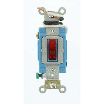 15 Amp Industrial Grade Heavy Duty 3-Way Pilot Light Toggle Switch, Red