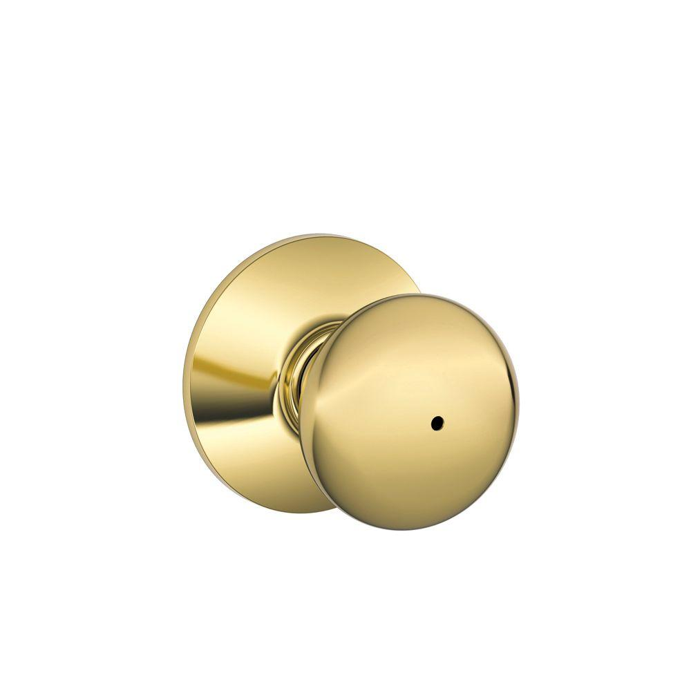 Schlage Plymouth Bright Brass Bed And Bath Knob-F40 PLY
