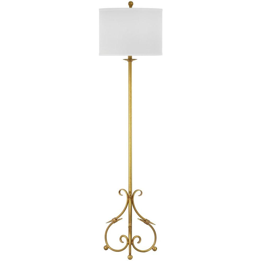 Safavieh Elisa Baroque 60 in. Antique Gold Floor Lamp with White ...