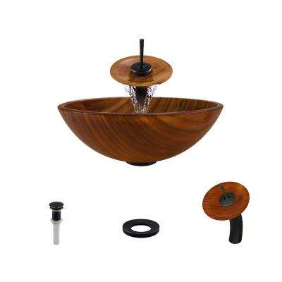 Glass Vessel Sink in Wood Grain with Waterfall Faucet and Pop-Up Drain in Antique Bronze