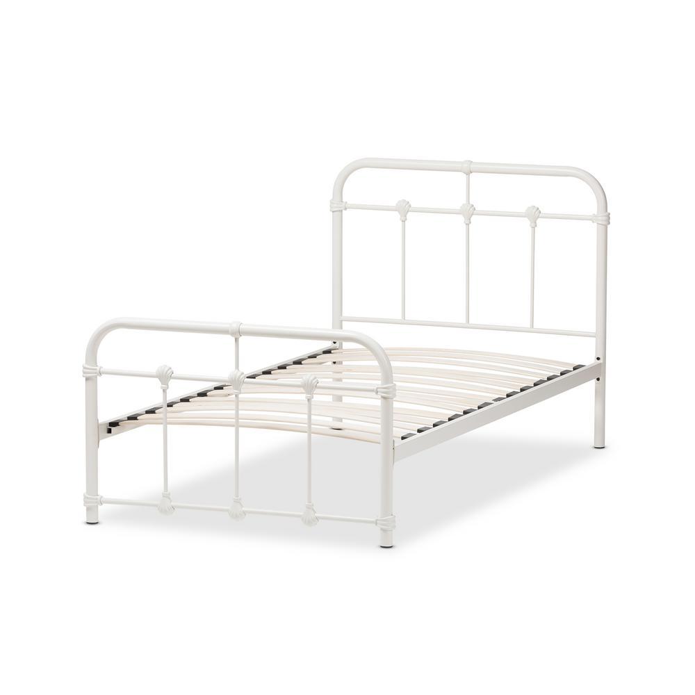 Mandy White Metal Twin Platform Bed