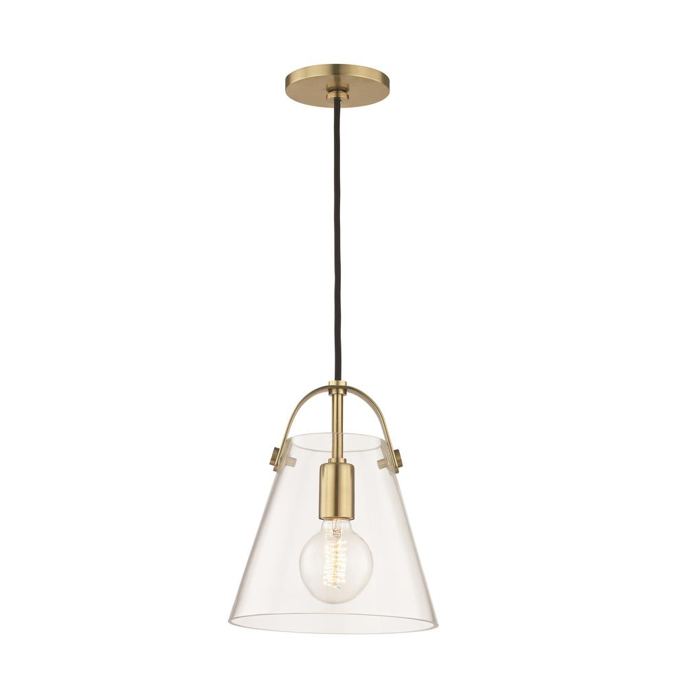 Mitzi by Hudson Valley Lighting Karin 1-Light Aged Brass Small Pendant with Clear Glass  sc 1 st  Home Depot & Mitzi by Hudson Valley Lighting Karin 1-Light Aged Brass Small ...