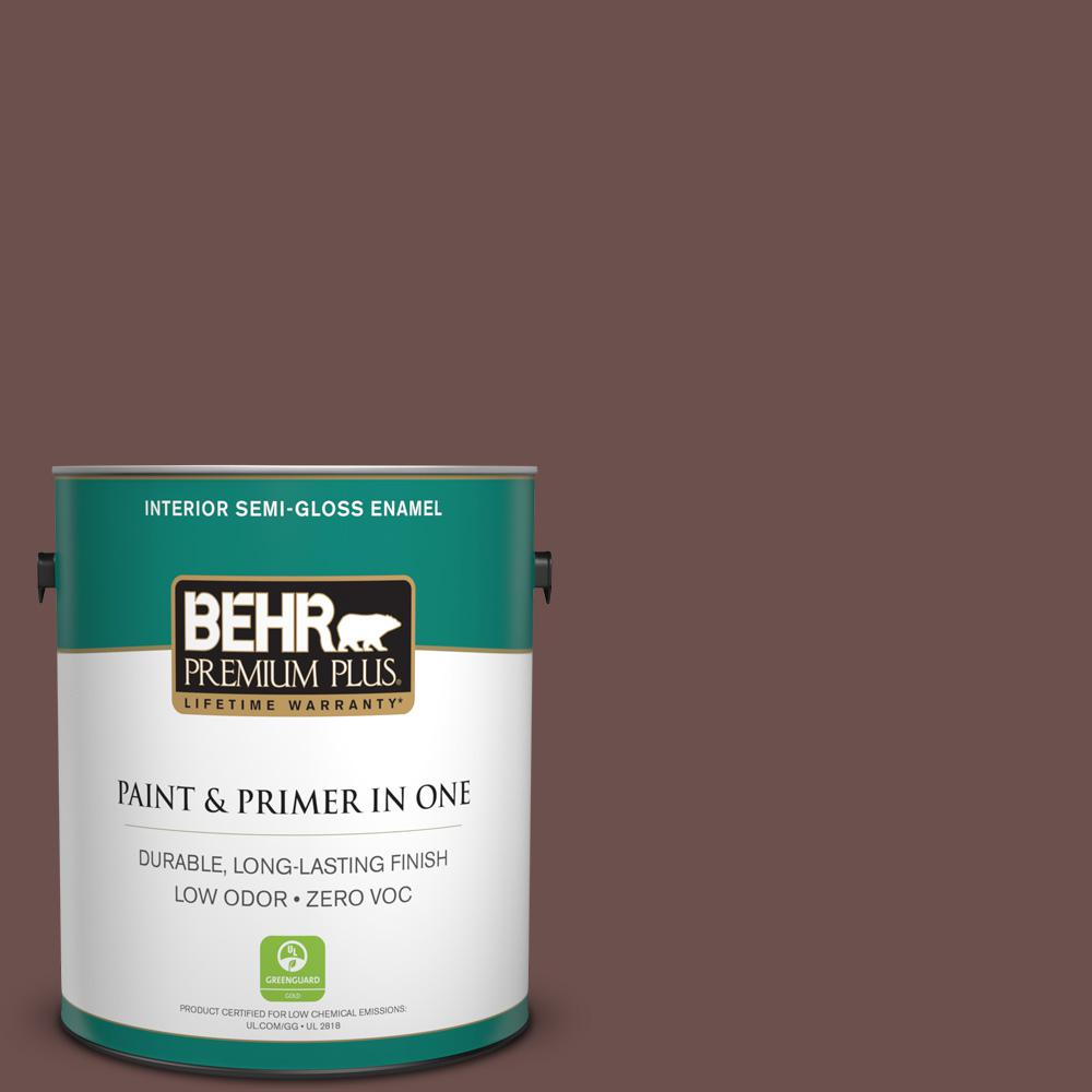 1-gal. #N170-6 Natural Bark Semi-Gloss Enamel Interior Paint