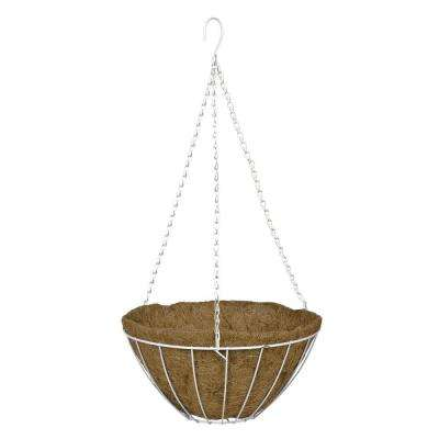 14 in. White Grower's Style Metal Hanging Basket