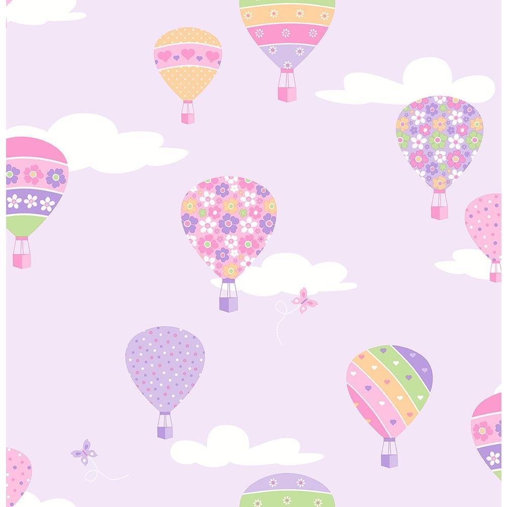 Brewster Lilac Hot Air Balloons Wallpaper