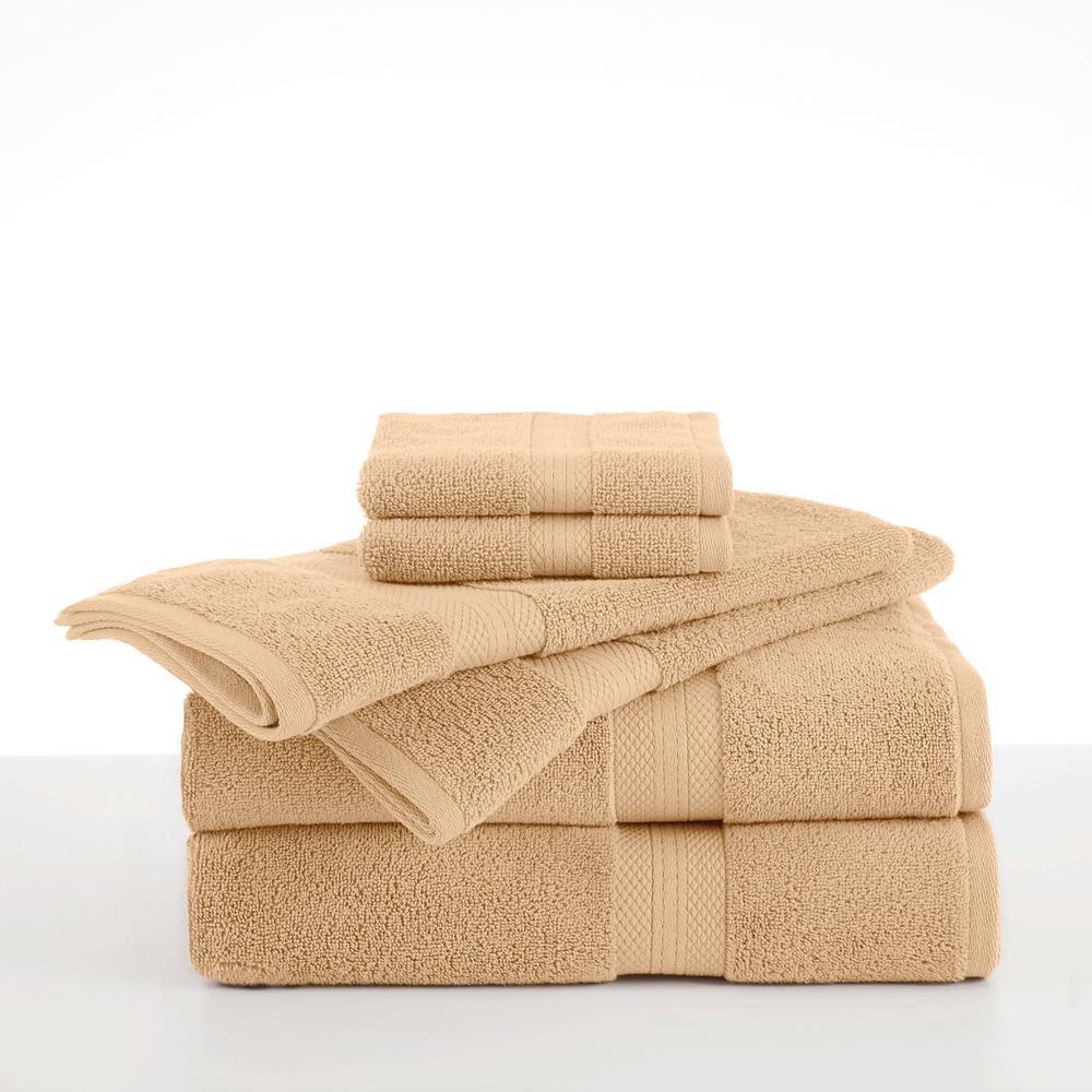 Abundance 6-Piece Wheat Solid Bath Towel Set