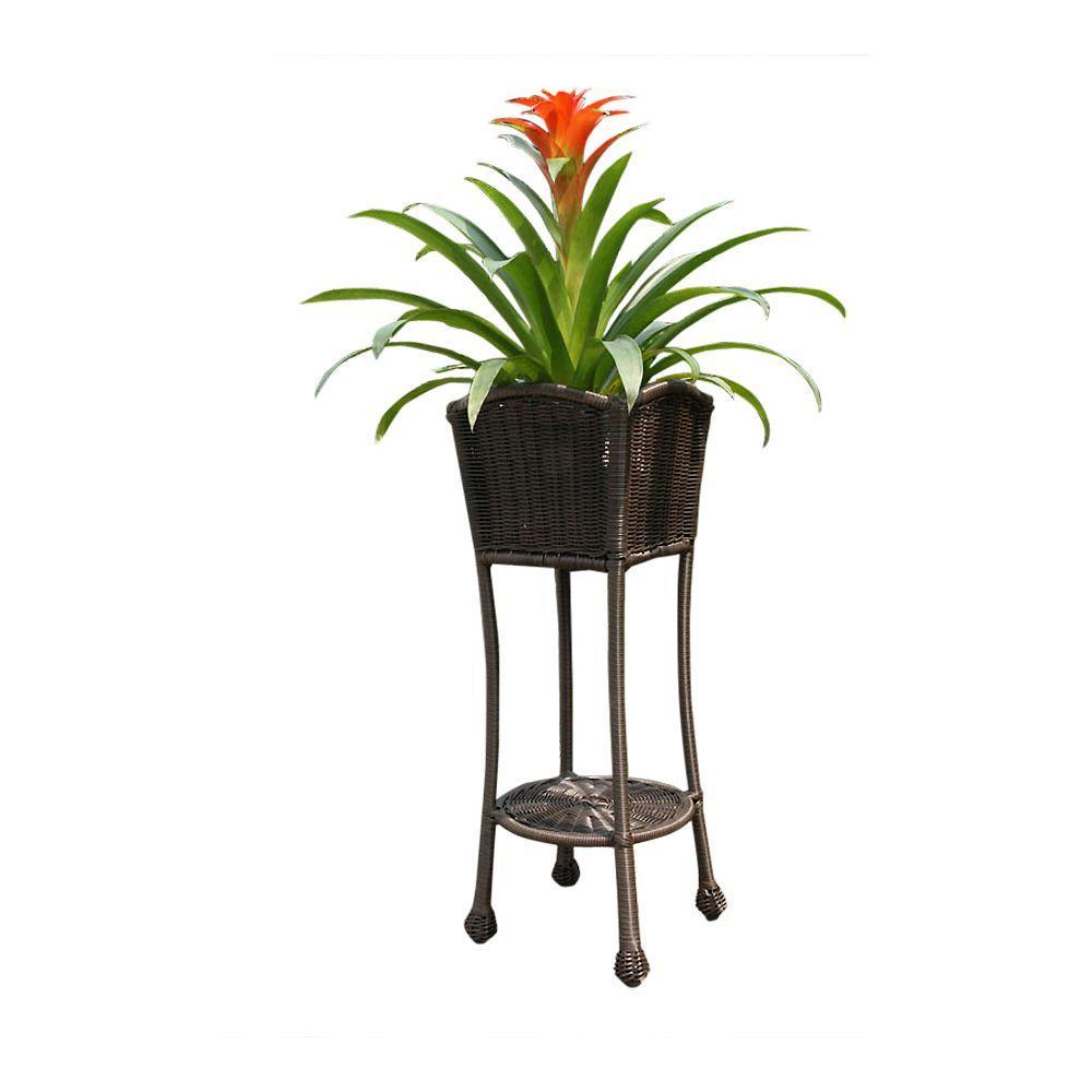 Resin honey wicker patio furniture planter stand