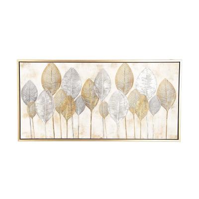 """""""Gold and Silver Veined Leaves"""" Hand Painted Framed Canvas Wall Art"""