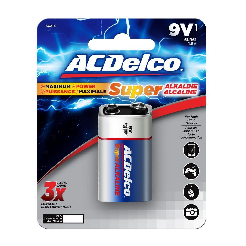 acdelco super alkaline 9 volt battery 12 pack ac265 the home depot. Black Bedroom Furniture Sets. Home Design Ideas