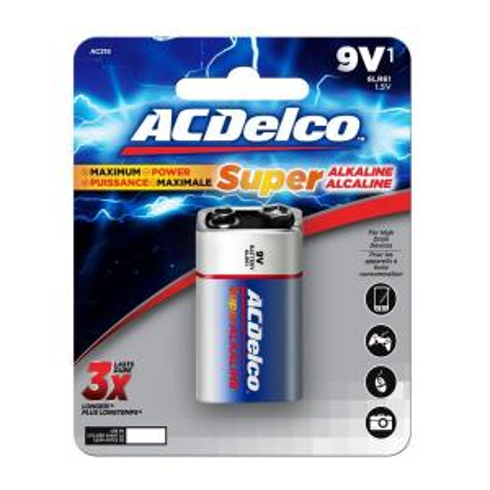 acdelco super alkaline 9 volt battery 12 pack ac265. Black Bedroom Furniture Sets. Home Design Ideas
