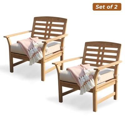 Belize Solid Wood Teak Outdoor Lounge Chair with Taupe Cushion (2-Pack)