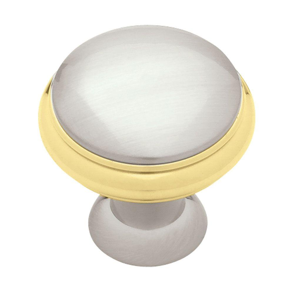 Liberty Geometric 1-3/8 in. Polished Brass & Satin Nickel Cabinet Knob-DISCONTINUED
