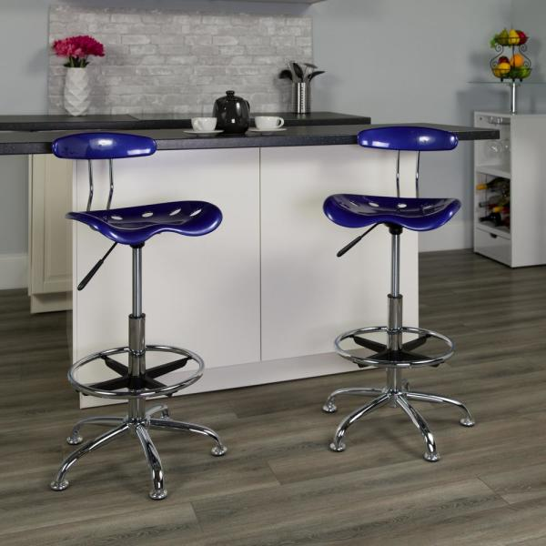 Flash Furniture Vibrant Deep Blue and Chrome Drafting Stool with Tractor