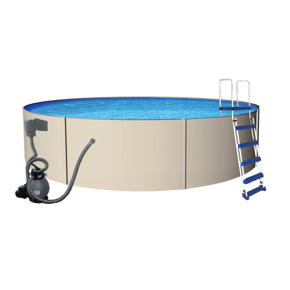 Blue Wave Rugged Steel 18 Ft. Round 52 In. Deep Metal Wall Swimming Pool  Package NB3308   The Home Depot Great Pictures