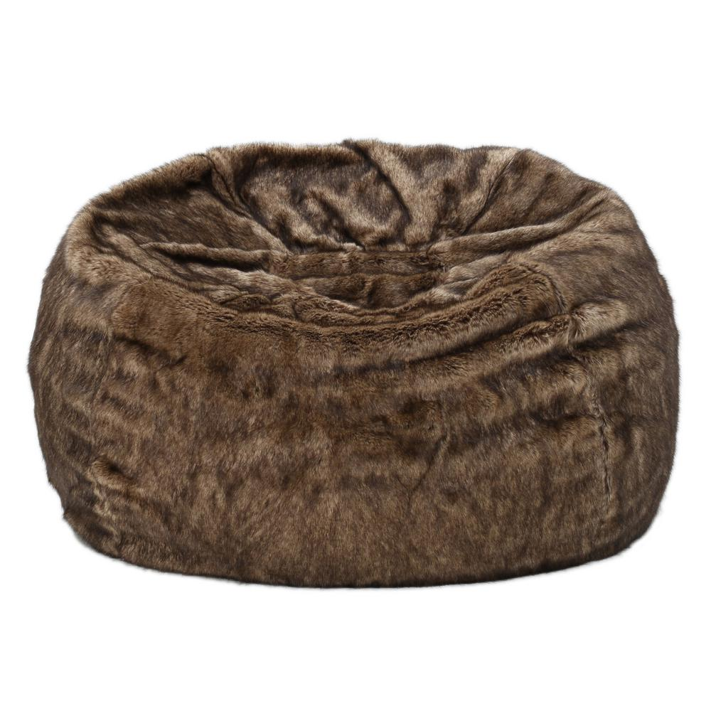 Noble House 3 ft. Dark Brown Faux Fur Bean Bag was $244.0 now $148.98 (39.0% off)