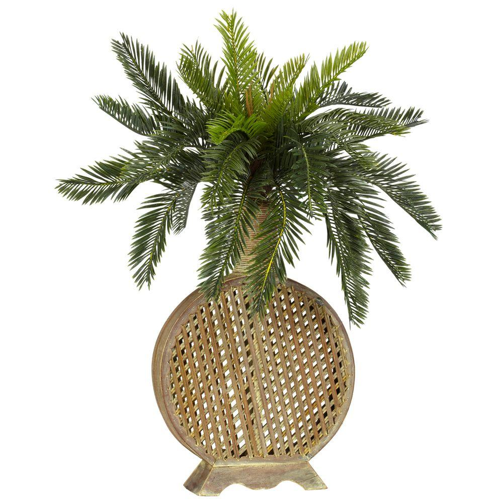 25 in. H Green Cycas with Decorative Vase Silk Plant