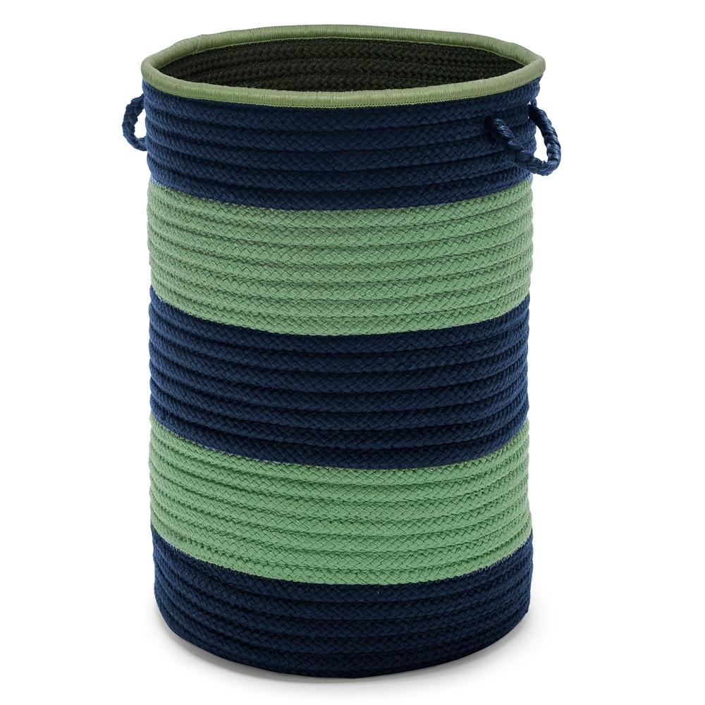 Color Pop Round Polypropylene Hamper Navy Green 16 in. x 16