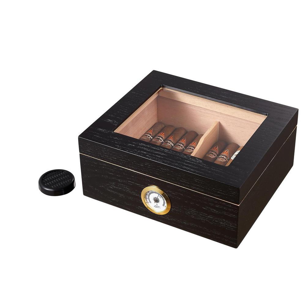 Santa Clara Glasstop Black Matte Cigar Humidor