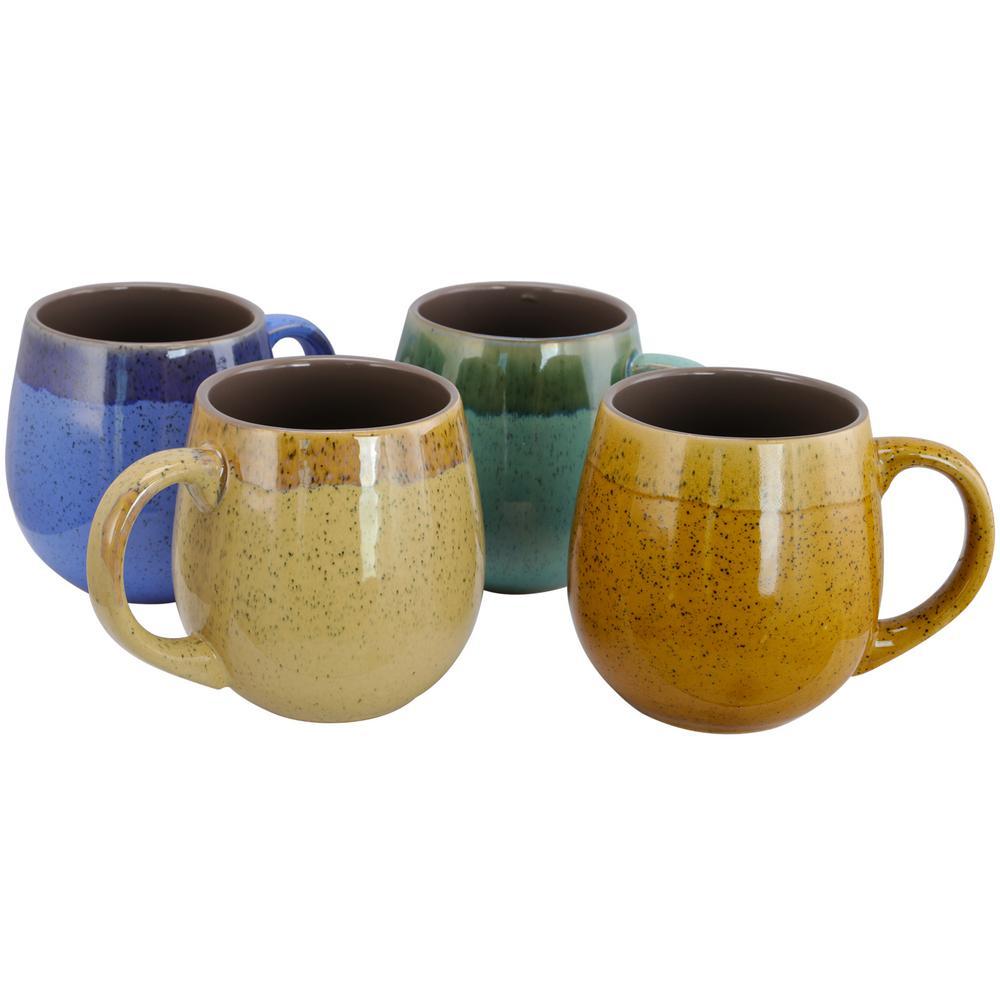 Hanbury Assorted Colors 18 oz. Barrel Shape Mug (Set of 4)