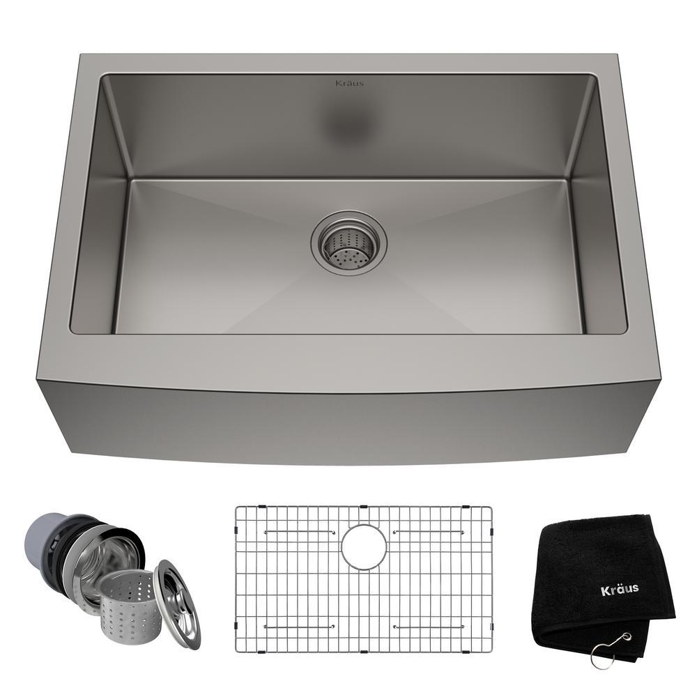 Standart PRO Farmhouse Apron-Front Stainless Steel 30 in. Single Bowl Kitchen Sink