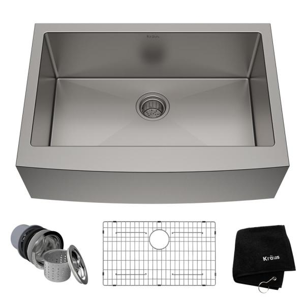 Standart PRO Farmhouse Apron-Front Stainless Steel 30 in. Single Bowl Kitchen Sink
