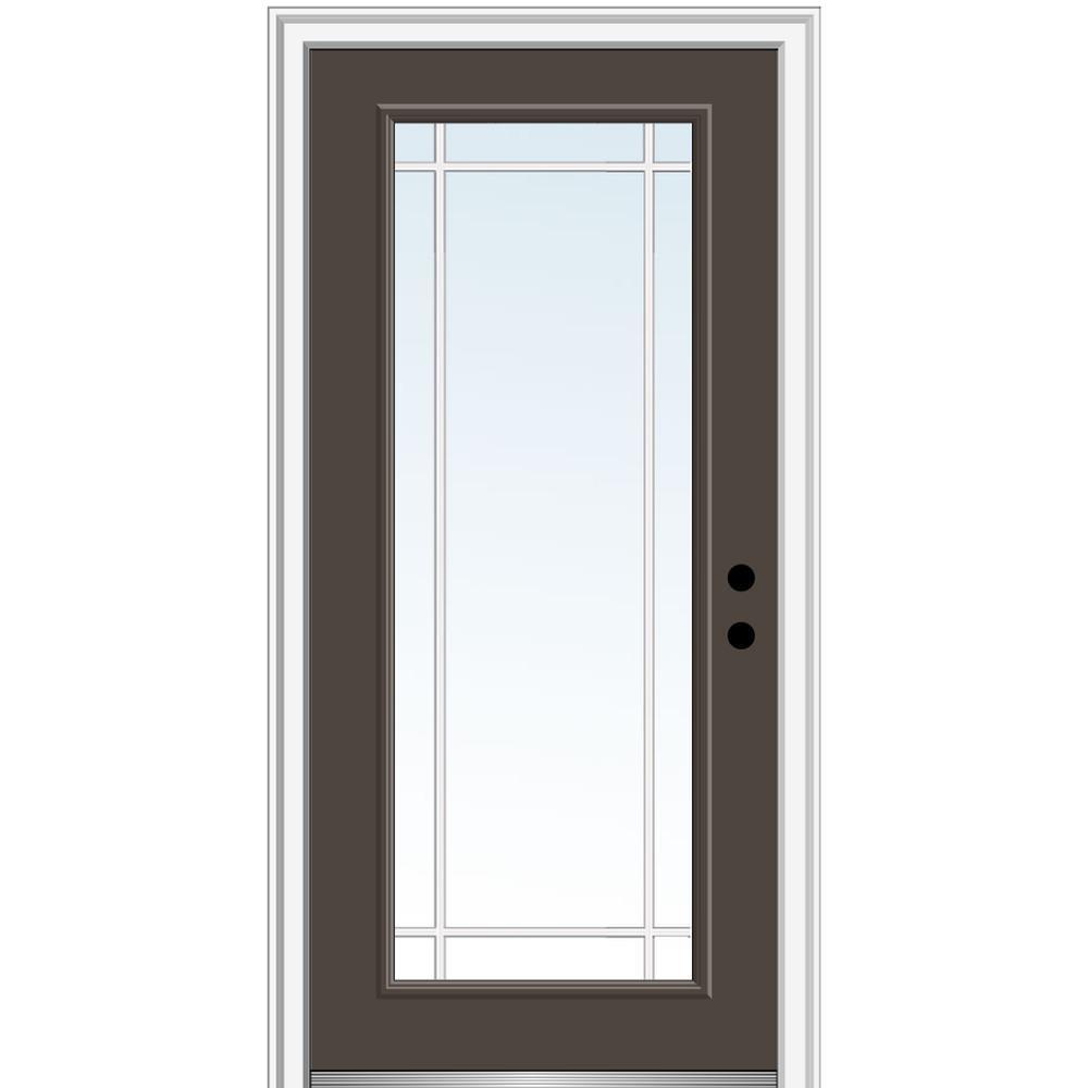 MMI Door 36 in. x 80 in. Prairie Internal Muntins Left-Hand Inswing Full Lite Clear Painted Steel Prehung Front Door