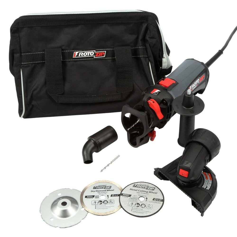Rotozip RotoSaw+ 6 Amp Corded Variable Speed Spiral Saw Kit with 11 Accessories and a Carrying Case