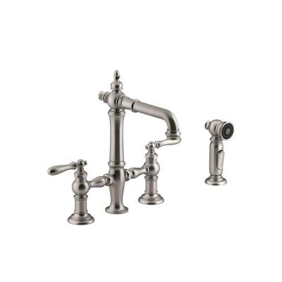 Artifacts 2-Handle Bridge Kitchen Faucet with Lever Handles in Vibrant Stainless