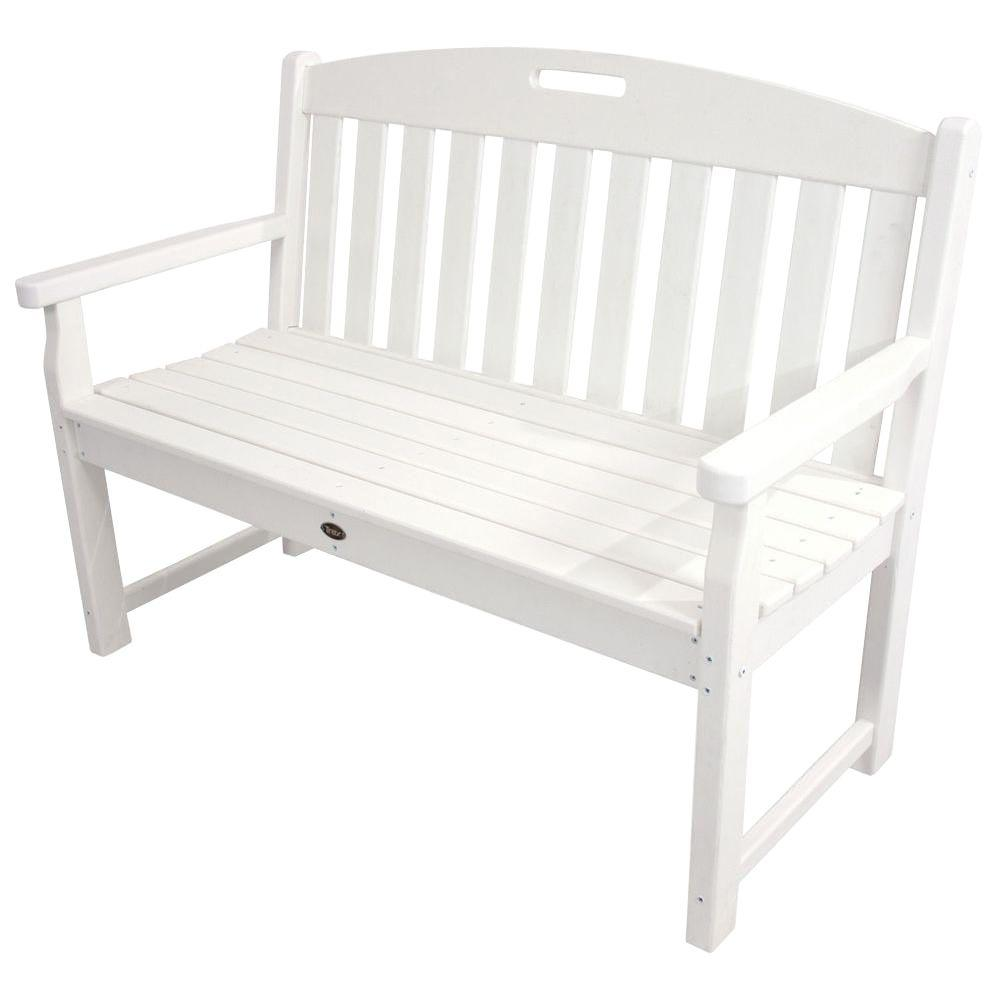 Trex outdoor furniture yacht club 48 in classic white patio bench